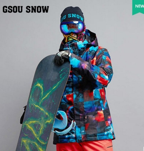 Mens Blue Ski Jacket Male Color Box Cycling Snowboarding Snow Coat Skiwear Waterproof 10K Windproof Breathable Warm