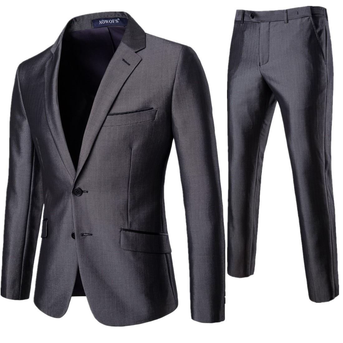 Men Grey Dress Suits Formalwear Wedding Suits For Men Suit Jackets+Pants 2 Pieces New Spring Men Straight Suits Blazer Size 3XL