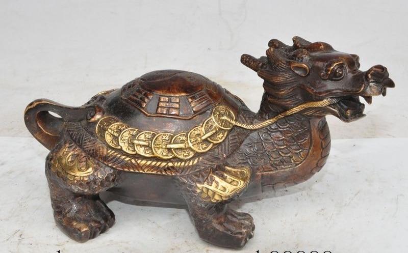 Feng-shui de China de bronce dorado moneda y riqueza Dragón la longevidad de las tortugas rica estatua