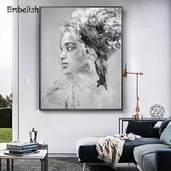 Enfeitar 1 Peças Obras de Arte Moderna Para A Decoração Home Figura Da Mulher Africano Framed Pictures Sala HD Cópia Da Lona Pinturas A Óleo