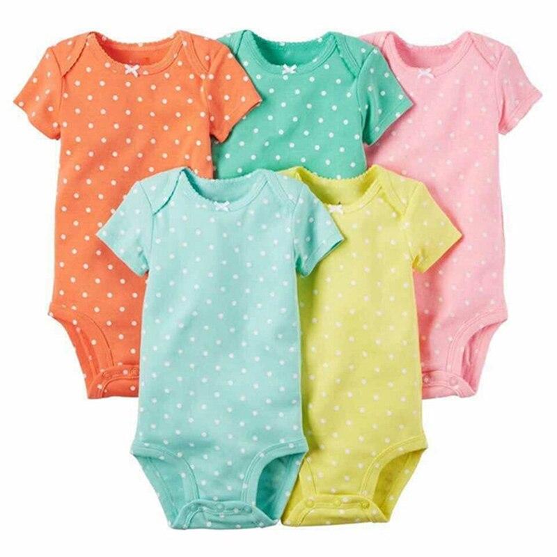 Купить с кэшбэком 5PCS/LOT Baby Girl Boy Romper Clothing Unisex Top Quality Newborn Clothes Short Sleeve Cottom O-Neck 0-24M De Bebe Baby Clothes