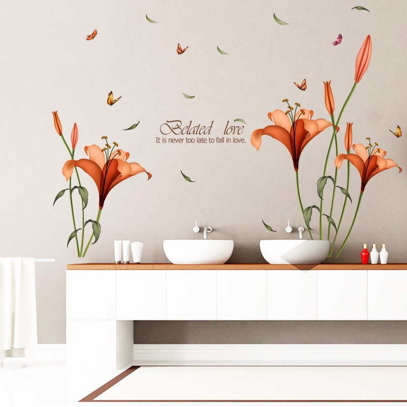 Lily Blumen Wandaufkleber Auf Der Wand Vinylwandaufkleber Gome Decor Schlafzimmer Hintergrund Wandtattoos