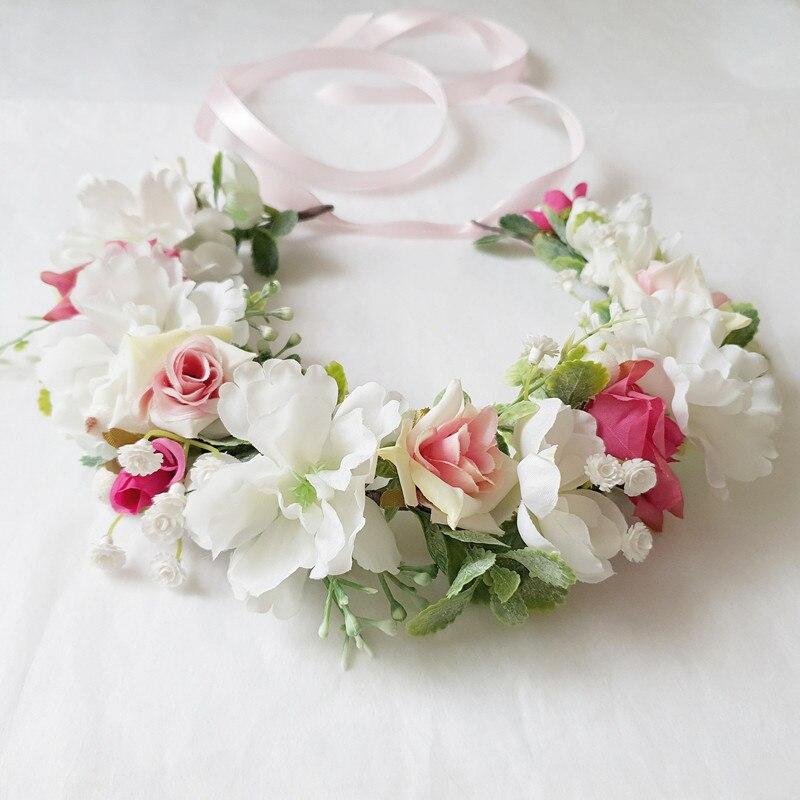 Accesorios para el pelo de la boda de las mujeres accesorios para el pelo de la corona de la Flor Blanca Rosa corona Festival diadema tocado Floral guirnalda