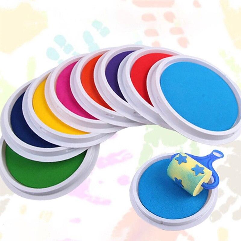 Juguetes de dibujos para bebés con almohadilla de tinta, juguetes de dibujos para niños, divertidos Graffiti de colores DIY, juguetes para pintar con dedos, juguetes lavables con almohadilla de tinta para manualidades