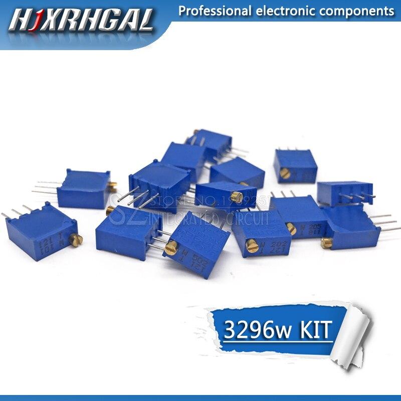 15valuesX1 Uds = 15 Uds 100ohm-2Mohm 3296 3296w resistencias variables multivuelta trimmer ajustable precisión potenciómetro kit hjxrhgal