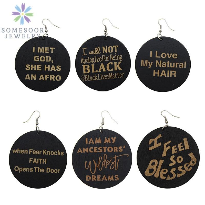 Pendientes de gota de madera Natural de SOMESOOR Africann tallados en negro Lives Matters God Afrocentric joyería étnica para mujeres regalo mezcla 6 pares