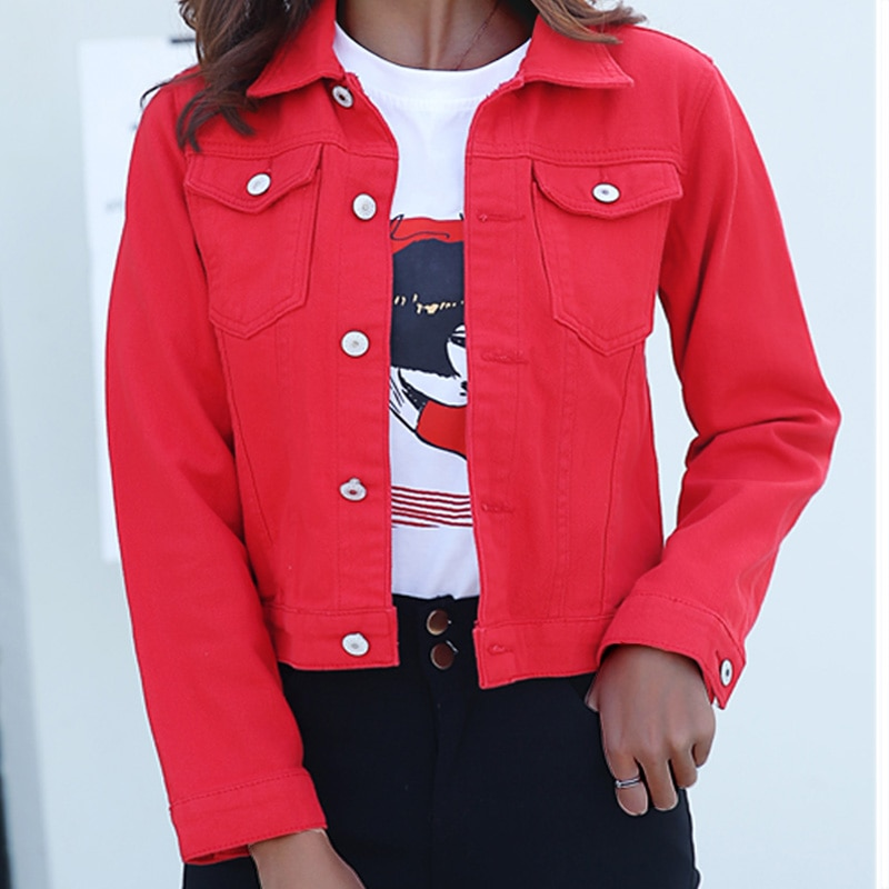 Jeans Jacket and Coats for Women 2019 Autumn Candy Color Casual Short Denim Jacket Chaqueta Mujer Ca