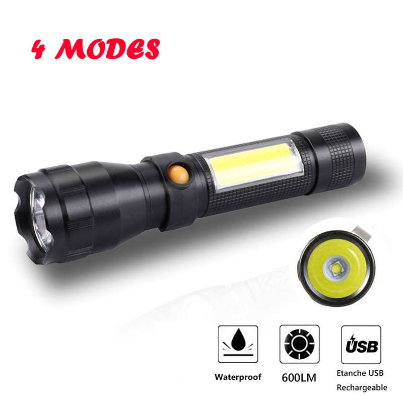 Potente linterna led táctica militar linterna LED usb recargable XPG5 + COB LED 4 modos por 18650 Battary #3o8