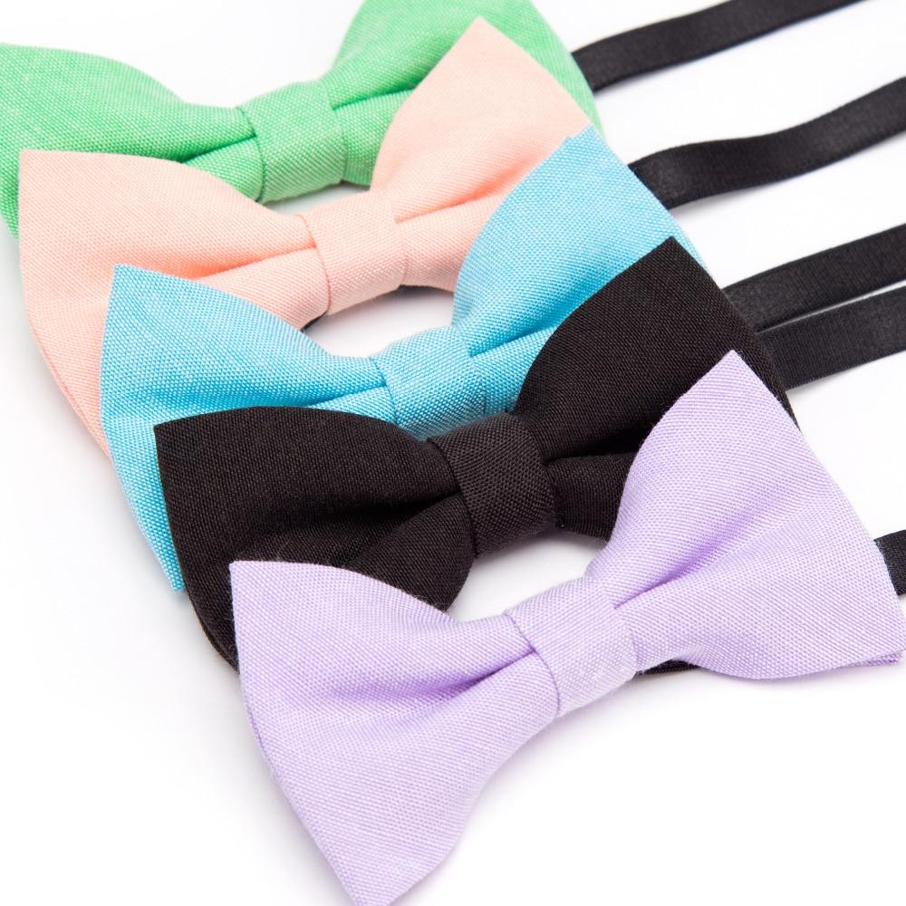 Детские галстуки-бабочки, однотонные хлопковые вечерние галстуки-бабочки для мальчиков и девочек, регулируемые Формальные галстуки-бабочк...
