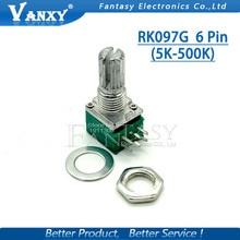 5 stücke RK097G 5K 10K 20K 50K 100K 500K B5K mit einem schalter audio 6pin welle 15mm verstärker abdichtung potentiometer