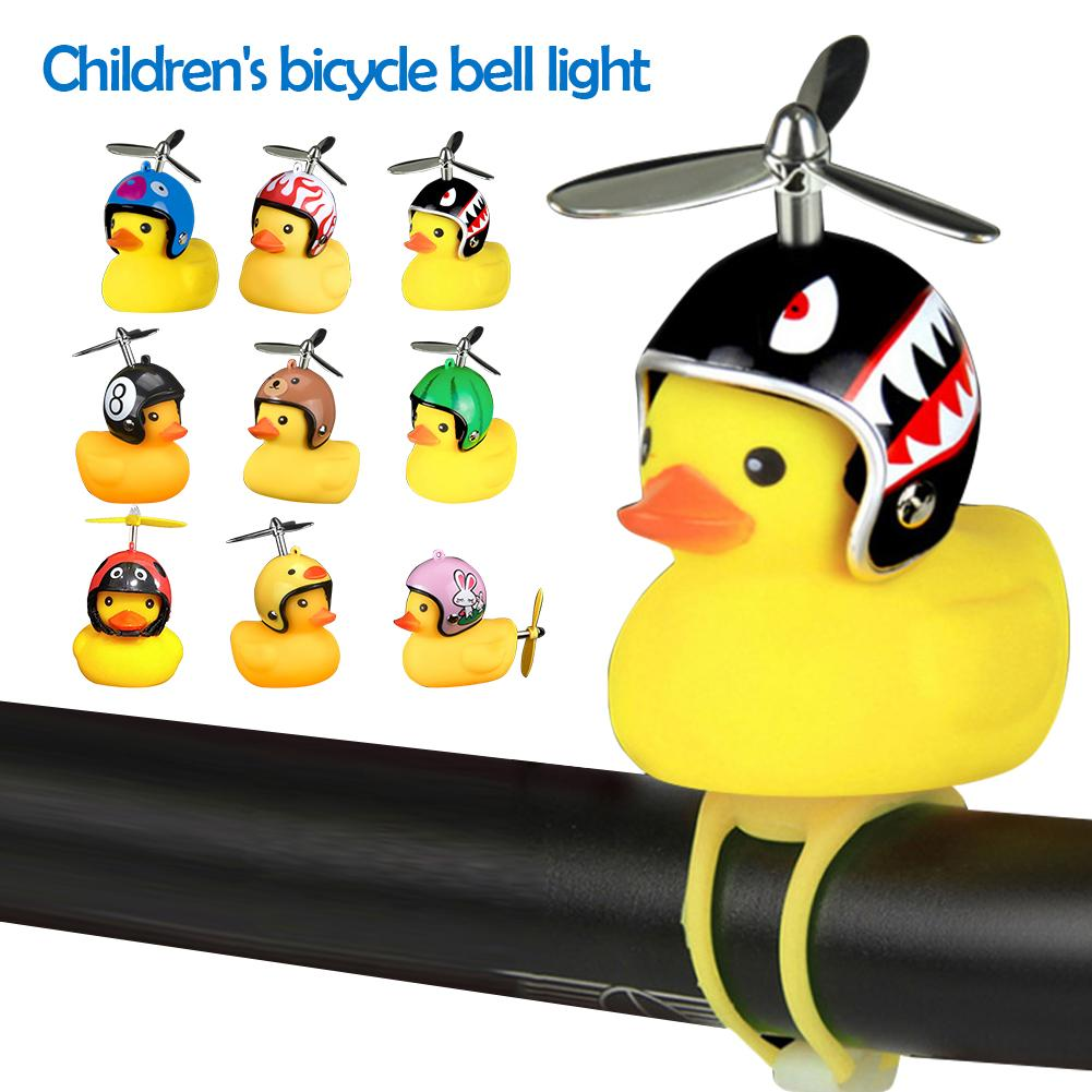 Llavero con llavero y timbre para bicicleta, casco de dibujos animados, cuerno de pato, accesorios de decoración, bocina para bicicleta o coche eléctrico