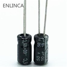 20 pièces/lot R445 50V 10UF condensateur électrolytique en aluminium taille 4*7mm 10UF 20%
