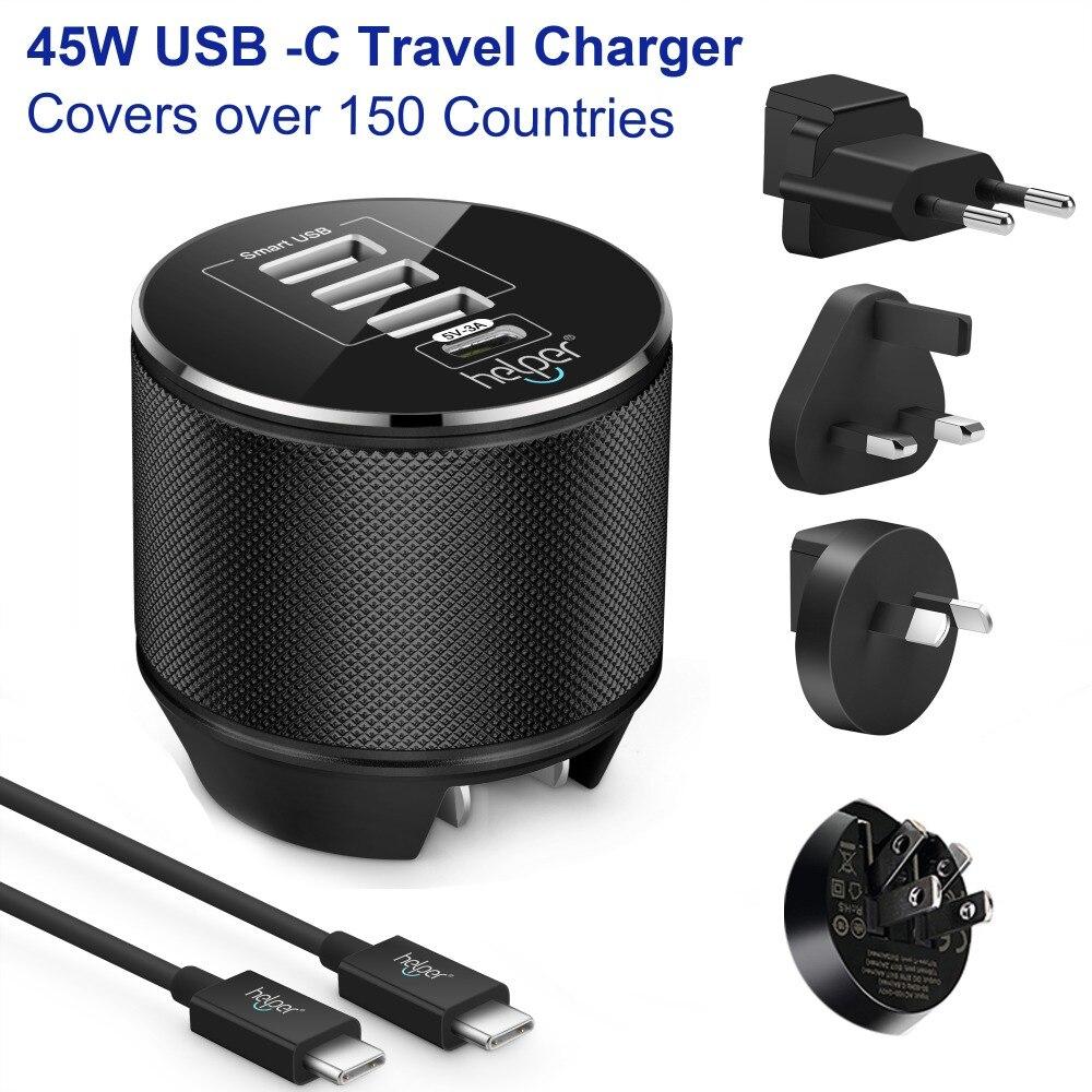 Cargador USB tipo C 1 puerto 5 V/3A 15W USB-C y 3 puertos USB cargador de pared de viaje USB con enchufe US/EU/UK/AU para dispositivos de USB-C