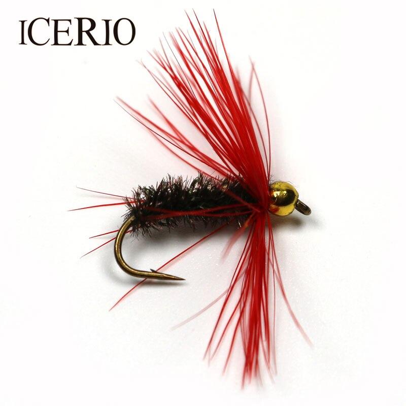 ICERIO 8 шт., Золотые шарики, голова павлина, тело, влажные мухи, приманки на форель для ловли нахлыстом #10