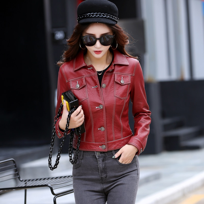 Classic Hip hop style leather Jacket breakdancing Street Leather Coat Punk motorcycle zipper wine red Green Black Leather Jacket enlarge