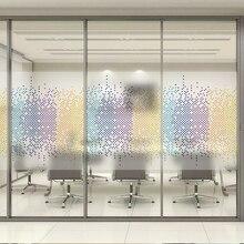Nouvelle créativité tricolore mosaïque verre Film fenêtre autocollant Transparent Opaque givré pas de colle amovible pour la décoration de bureau daffaires