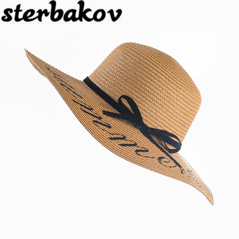 2016 Summer Women Sun Hat Ladies Wide Brim Straw Hats Outdoor Foldable Beach Panama Church Bone Chapeu Feminino sun cap