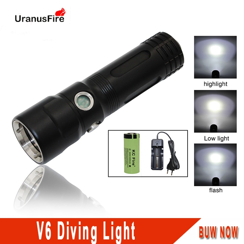 Uranusfire Scuba Diving Flashlight LED Waterproof  V6 2000 lumens Powerful Portable tactical lights 18650 26650 dive torch