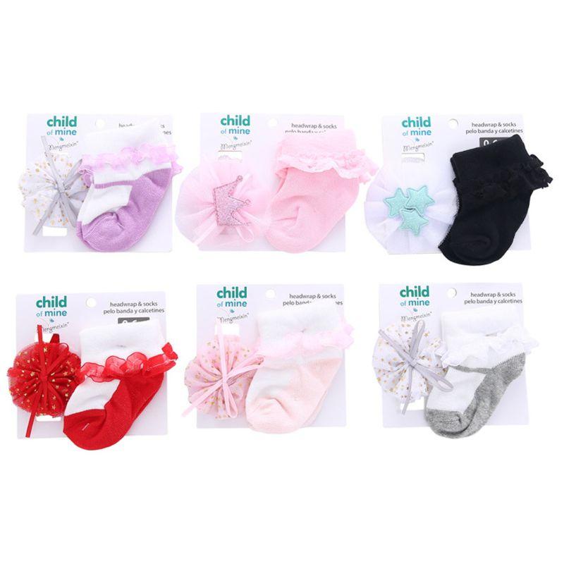 2 piezas/1 set bebé calcetines de algodón flores diademas niñas sombreros niños elástico banda de pelo de bebé Accesorios