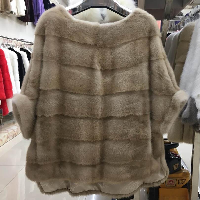 2021 new real mink fur coat jacket pocket bat sleeve batwing fashion women natural fur coat thick warm street style short sleeve