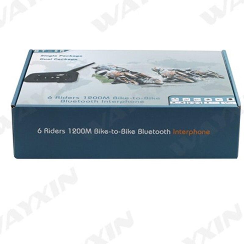 2018 nuevo 2 uds 1200m Bluetooth intercomunicador auriculares 6 jinetes manos libres V6 impermeable motocicleta interfono soporte estéreo música/audio