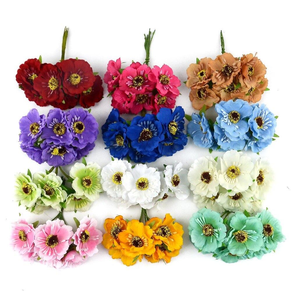 6 sztuk/partia 4cm prawdziwy dotyk Mini jedwab + tamen sztuczny mak bukiet/pudełko upominkowe ślubne Rose kwiaty dla DIY Scrapbooking kwiat