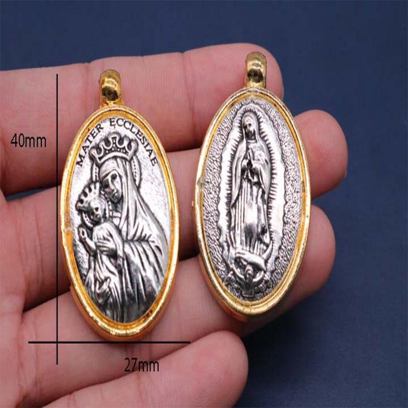 20 unidades/medalla religiosa de oro Guadalupe Madonna, medalla dorada de Santa Ana Marvel.