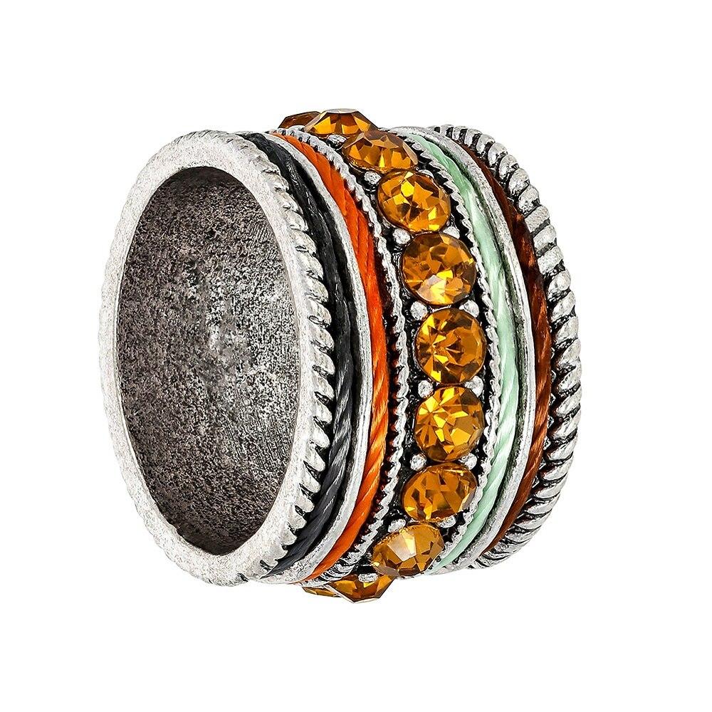 2019 nuevos anillos de cristal bohemio con diseño de estilo étnico para amantes de las mujeres personalidad Retro Color plata bandas de boda regalo joyería