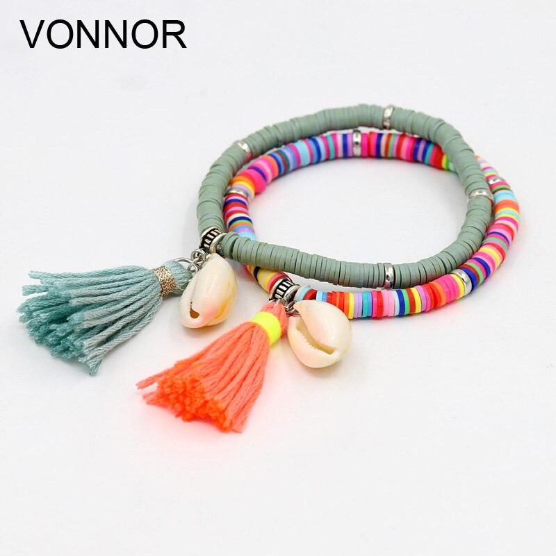 VONNOR Handmade Jewelry Bracelets for Women Fashion Colorful Fimo Beads Bracelet with Shell Tassel Bracelets for Girl