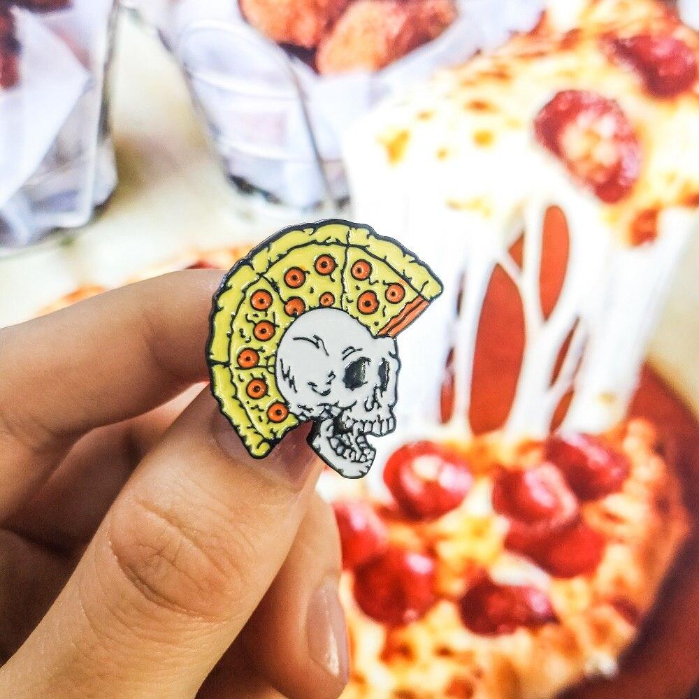 Pizza Mohawk образец черепа Хэллоуин рюкзак в готическом стиле Головные уборы Аксессуары Классический Панк Скелет эмаль броши булавки для друзей
