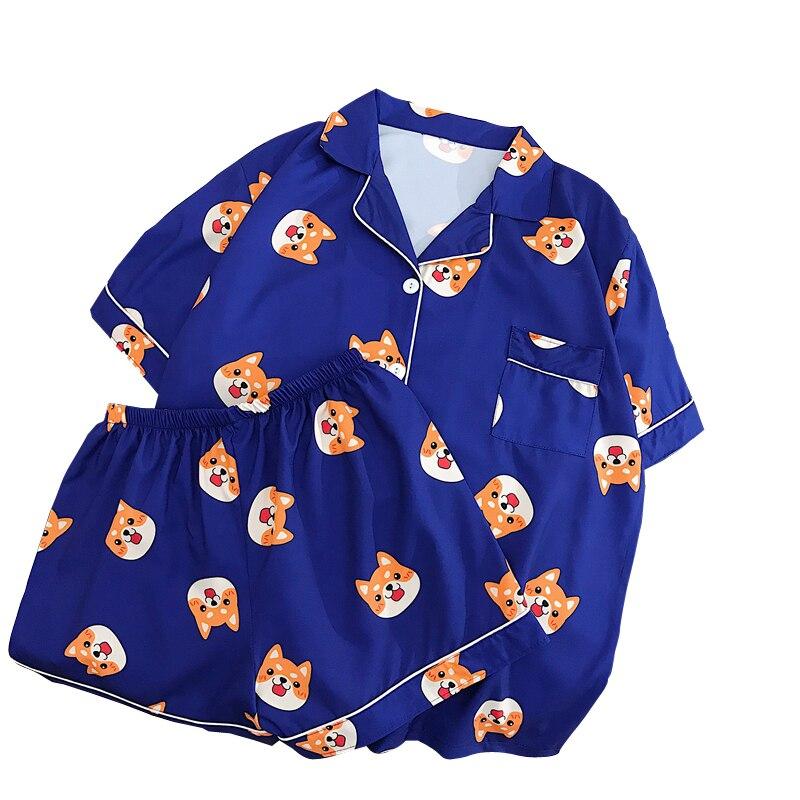 Conjuntos de blusas para mujer, ropa de hogar Kawaii Harajuku Shiba, Blusa de gasa estampada, camisa, ropa femenina, ropa de verano, pijama coreana