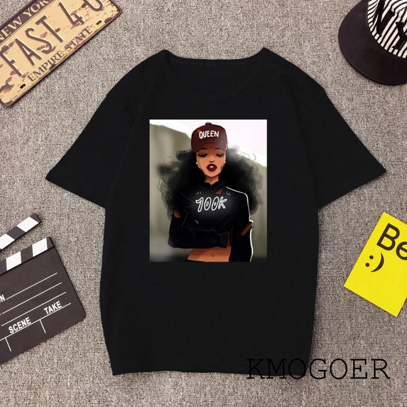 Preto menina mágica poppin feminino camiseta rainha melanin impressão harajuku hip hop rock preto tshirt verão t camisa feminina streetwear