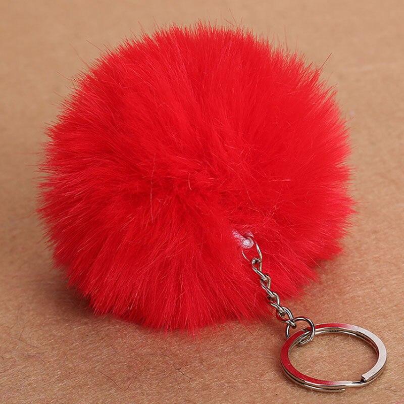 2019 Real Bunny Keychain Fashion Fur Ball Pom Keychain Faux Rabbit Hair Bulb Bag Car Ornaments Penda