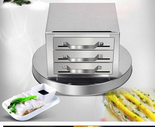 Gaveta puxar rolos de arroz máquina máquina de casa Fen Chang 3 grade vapor prato fumegante de aço inoxidável