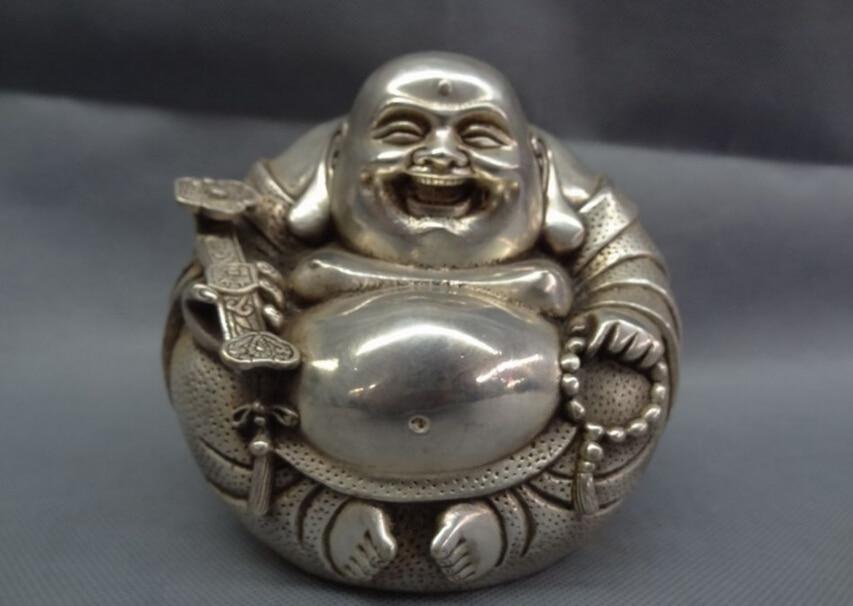 S4686 Silver Budismo Chino RuYi Feliz Riendo Maitreya Buddha Grano Latón Fo Estatua D0317