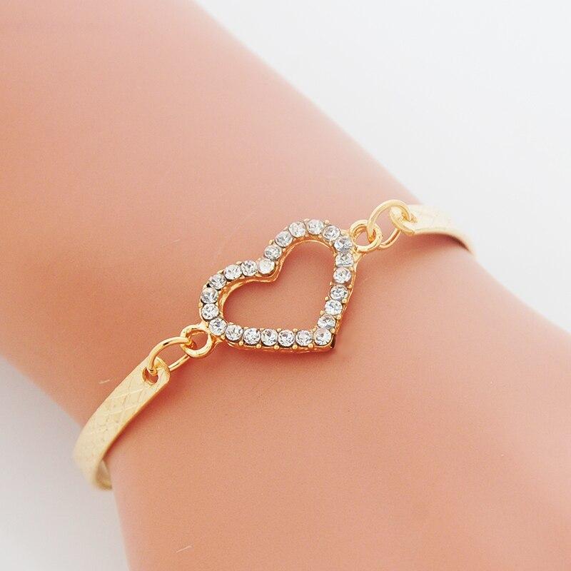 Pulseras de Moda CZ con abalorio de corazón de cristal para mujer, brazalete de joyería de Color dorado, cadena de eslabones, brazalete de boda, disfraz de amor, pulsera
