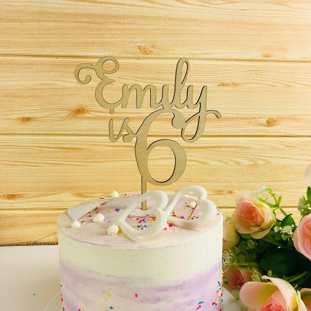 Персонализированные деревянные Топпер для торта «С Днем Рождения», пользовательское имя и возраст акриловое Золотое зеркало, день рождения торт Топпер украшения партии