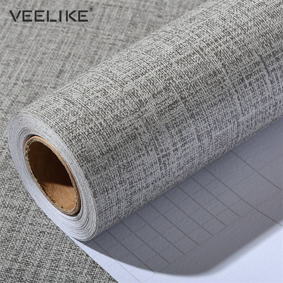 Papel de Contacto de vinilo de lino de PVC para armarios de cocina papel de pared autoadhesivo para decoración del hogar papel de pared de salón
