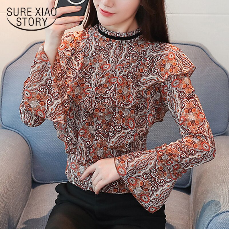 2018 nueva primavera mujeres blusas manga larga blusas casual moda dulce mujer ropa floral del o-cuello gasa D516 30