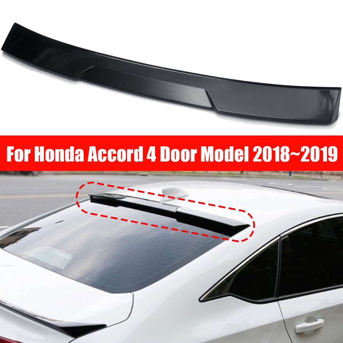 ABS Rear Window Visor Gloss Black Roof Spoiler for HONDA for ACCORD 10th Gen Sedan VIP 2018 2019 Car  Exterior Parts