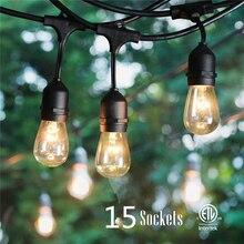 Livraison gratuite décorative à lextérieur de la chaîne led lumières pour patio porche comprennent 15 pièces led ampoule étanche SJTW 18AWG de lusine