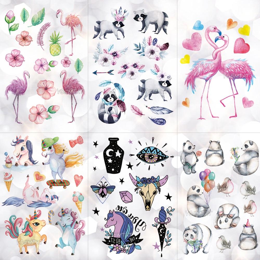Impermeable niños pegatinas tatuaje dibujos animados unicornio chico Panda brazo tatuajes temporal linda chica Flamingo caballo Flash tatuajes Pony