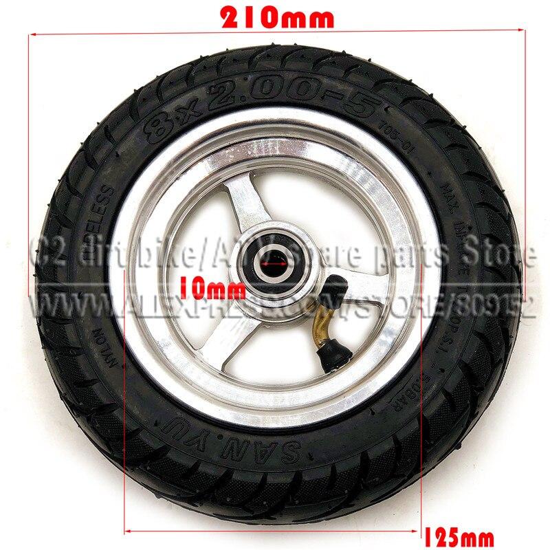 8x2.00-5 pneu sem câmara de ar roda 8x2.00-5 cubo de roda para kugoo s1 s2 s3 c3 mini bicicleta elétrica