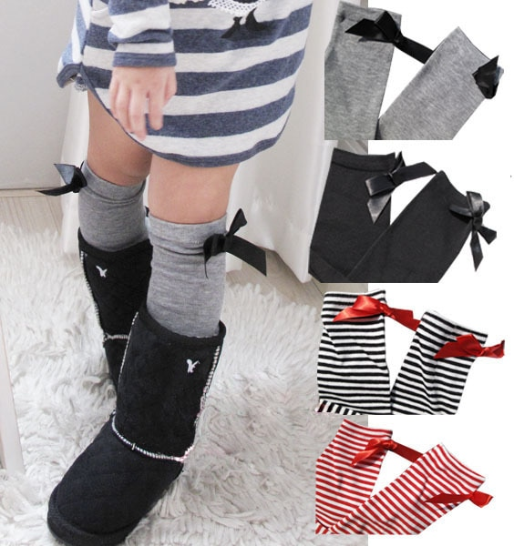 3 par/lote-Calentadores de piernas de bebé a rayas Bowknot/calcetines de niña/calentadores de piernas para niños/medias de manguera para niños