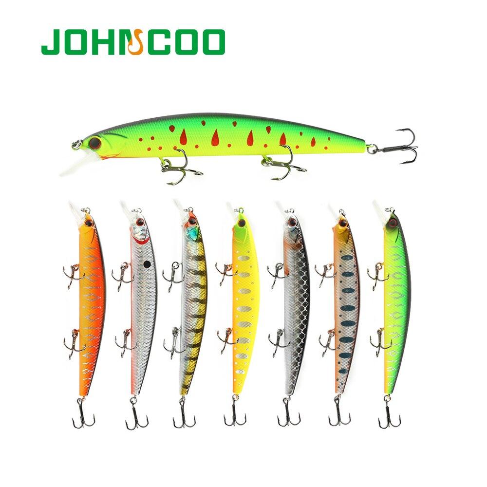 JOHNCOO 130mm 20g Rudra dura pesca señuelo pececillo carnada cebo Artificial, atraer Swimbait Wobbler con 3 de alta calidad ganchos