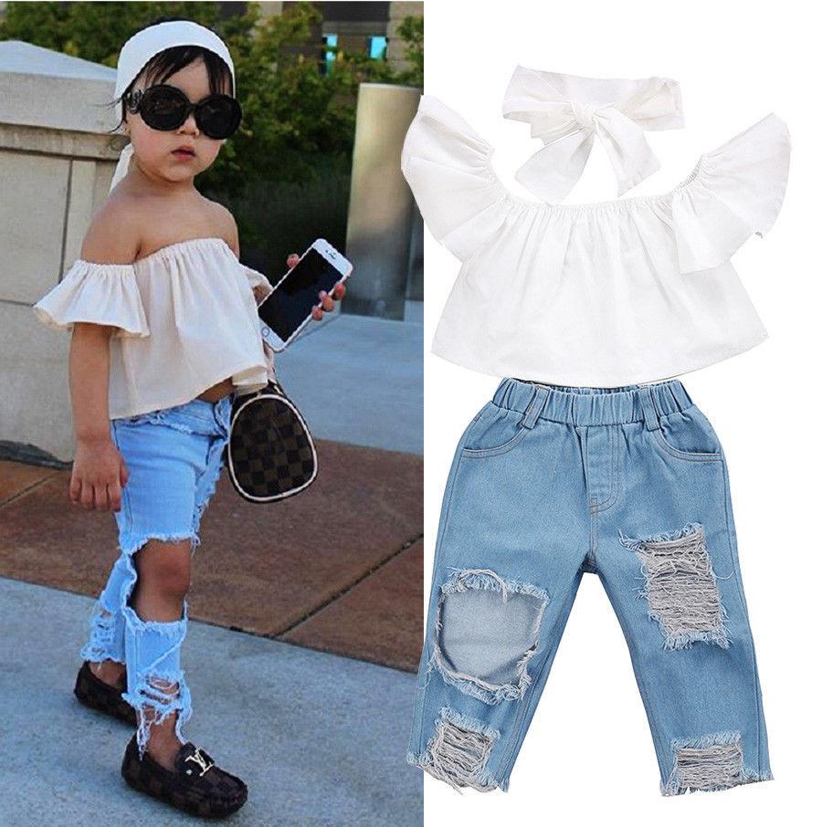 Комплект одежды для маленьких девочек, уличный стиль, 3 шт., топ с открытыми плечами для маленьких девочек, рваные джинсы, штаны, комплект оде...