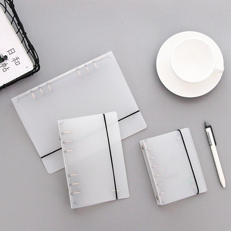 matte PVC transparent binder loose strap inner core A6 A5 a7 spiral notebook cover filler paper planner school office supplies
