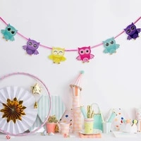 1pcs 3m multicolored owl banners pennant buntings kids birthday holiday party decoration favors eco friendly