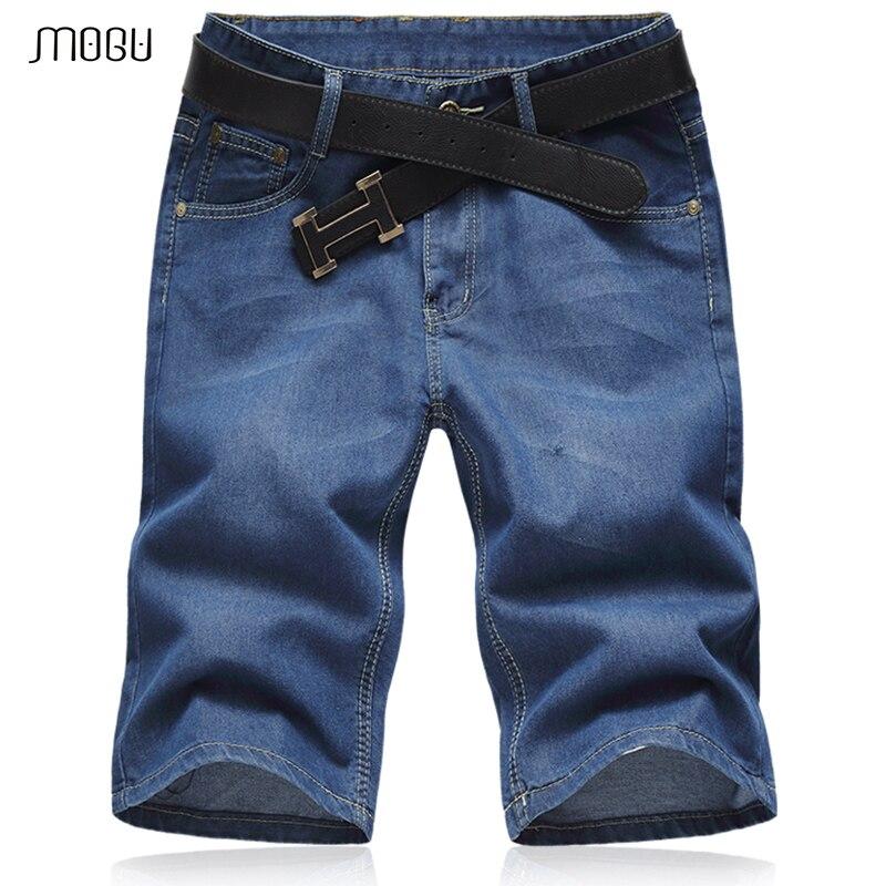 MOGU/летние джинсовые шорты 2018, Новейшие Классические облегающие высококачественные хлопковые мужские короткие синие джинсы, большие размер...