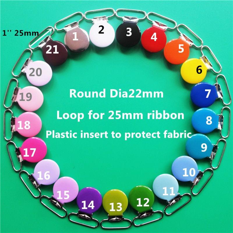 50 unids/lote chupete de metal de colores para bebé, soporte para muñeco, cadena de tirantes con clips, chupete de lactancia, clip de inserción de plástico para cinta de 1 25mm